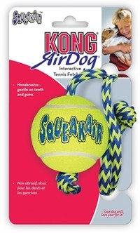 KONG Air Squeaker bal met touw Medium-0