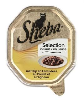 Sheba Alu Selection Kip en Lam in saus 85 gram-0