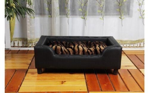 Hondenbank Leder look Zwart 79 cm-0