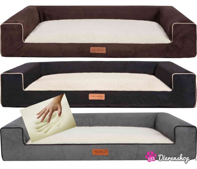 Orthopedische hondenmand Lounge Bed Suedinde Deluxe Bruin 100 cm-19416